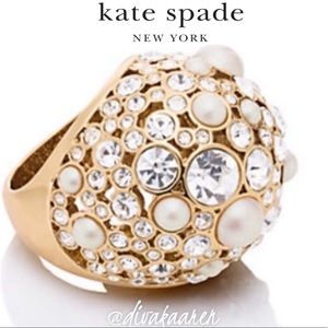 Kate Spade NEW SIZES Bauble Ring Pearls/Crystal